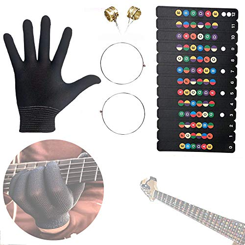 Rhinos Electric Guitar String .009-011 of 9-42,Glove,Fretboard Note Decal for Beginner Player