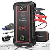 YABER Car Jump Starter - 2500A Peak 23800mAh Car Battery Jump Starter(All Gas or 8.0L Diesel) Portable Wireless Charger with LED Flashlight - EC5 Cigarette Lighter - Safety Hammer - LCD Screen