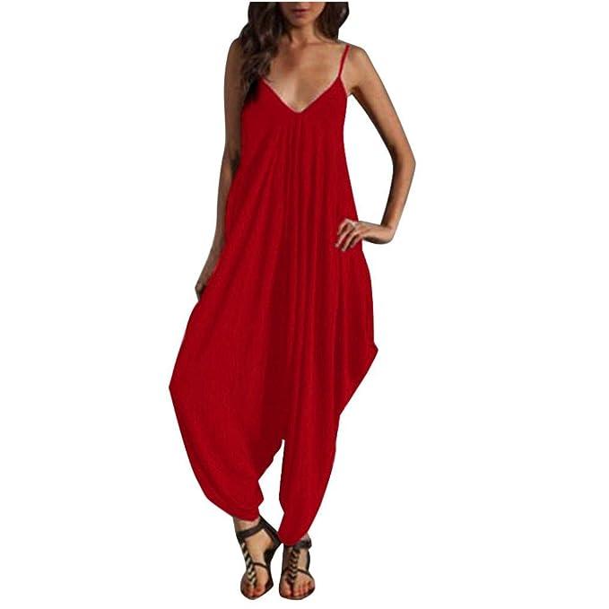 a9b47752bc10 Amazon.com  Boho One Piece Harem Jumpsuit Playsuit for Women Romper   Clothing