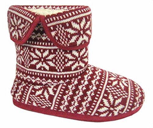 Coolers Rouge à Motif avec doublure en fourrure bottes Chaussons Tailles 789101112