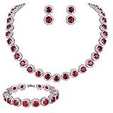 EVER FAITH Silver-Tone Round Cut Cubic Zirconia Tennis Necklace Bracelet Earrings Set Red Garnet Color