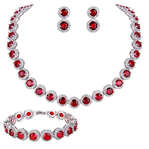 EVER FAITH Silver-Tone Round Cut Cubic Zirconia Tennis Necklace Bracelet Earrings Set Red Garnet Color