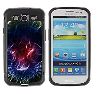 LASTONE PHONE CASE / Suave Silicona Caso Carcasa de Caucho Funda para Samsung Galaxy S3 I9300 / Black Panther Light Painting Neon Colors
