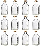 Juvale Clear Glass Bottles with Cork Lids- 12 Pack of Small Transparent Jars with Stoppers for Vintage Wedding Decoration, DIY, Home, Party Favors, 4.75 x 2 x 2 inches