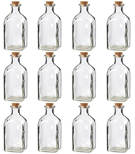 - Juvale Clear Glass Bottles with Cork Lids- 12 Pack of Small Transparent Jars with Stoppers for Vintage Wedding Decoration, DIY, Home, Party Favors, 4.75 x 2 x 2 Inches