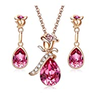 Rose Gold Jewelry Set for Women Swarovski Flower Pendant Necklace Stud Earrings Pink Sets