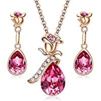CDE Rose Gold Jewelry Set for Women Swarovski Flower Pendant Necklace Stud Earrings Pink Sets