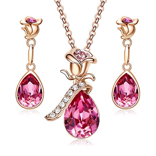 - CDE Jewelry Set for Women Pink Flower Rose Gold Plated Pendant Embellished with Crystals from Swarovski Necklace and Earrings Set Gift