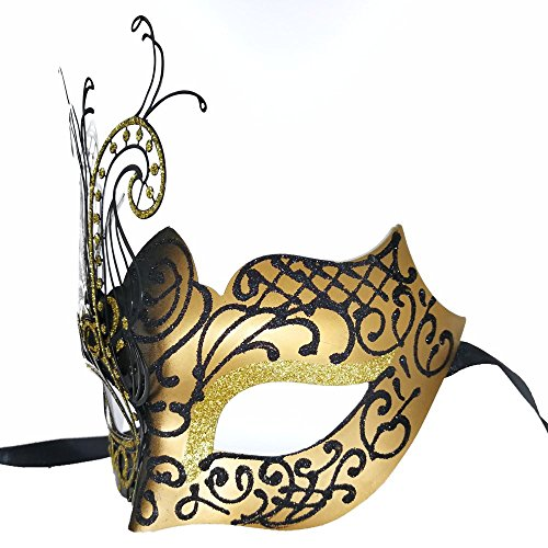 CCUFO [Flying Butterfly] Gold/Black Face with [Sparkling Wing] Laser Cut Metal Venetian Women Mask for Masquerade/Party / Ball Prom/Mardi Gras/Wedding / Wall Decoration by CCUFO (Image #3)