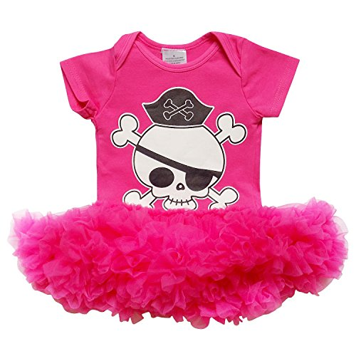 So Sydney Baby Girl Boy Halloween Pirate Skull Tutu Chiffon Skirt Onesie Romper (M (6-12 Months), Girl/Hot (Girls Pirate Outfits)