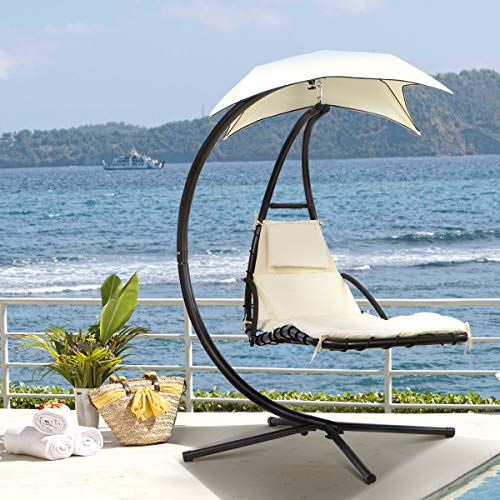 Barton Floating Swing Chaise Lounge Chair Hammock Lounger Hanging Curved Chaise Lounge Chair Swing for Backyard, Patio w/Pillow (Beige) - Canopy Lounger