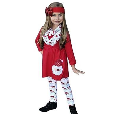 Tefamore Disfraz Navidad Niña 1-5 años Vestido de Manga Larga + ...
