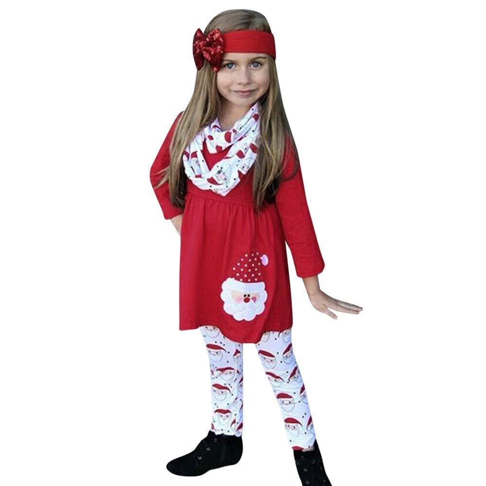2018 3PCS Children Kids Girls Cartoon Christmas Santa Dress Pants Headbands Set (2-3 Years, Red)