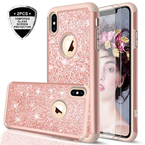 iPhone Xs MAX Case (2018) with Tempered Glass Screen Protector [2 Pack] for Girls Women,LeYi Glitter Bling Dual Layer Protective Phone Case Cover for iPhone Xs MAX (6.5) TP Rose Gold