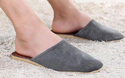 Da Mudo Hombres Zapatillas Grises Cuero de Cuero Verano Oto Suelo Primavera Invierno casa sin TELLW o os de Zapatillas TOxpan