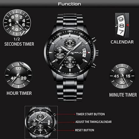 CRRJU Men s Six-pin Multifunctional Chronograph Wristwatches,Stainsteel Steel Band Waterproof Watch
