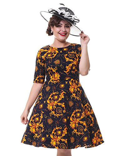 ZAFUL Women Vintage 3/4 Sleeve Floral Dress Defined Waist Cocktail Evening Dress (M)