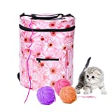 Yarn Bag Storage,Sundlight Organizing Crochet and Knitting Needles Yarn Holder with Pockets Protect Wool,11.81''x12.99''