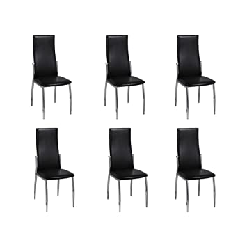 vidaXL 6X Sillas de Salón Comedor de Cuero Artificial Negro con Patas de Metal