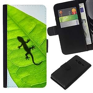 Stuss Case / Funda Carcasa PU de Cuero - Lagarto lindo hoja Reptil Gecko - Samsung Galaxy A3