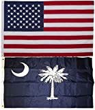 South Carolina State and USA American Flag 3×5 EMBROIDERED 2 double sided Flag Wholesale Lot House Banner Double Stitched Fade Resistant Premium Quality