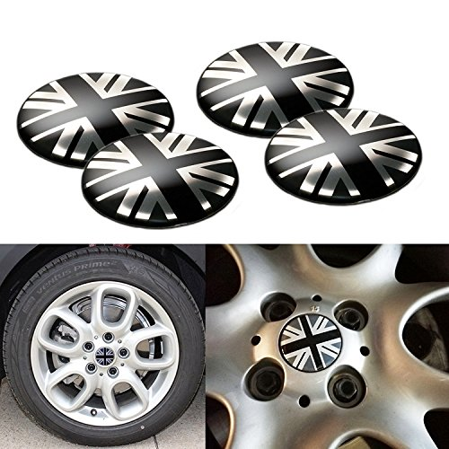 4x Black/Grey Union Jack UK Flag Style Wheel Center Cap Covers For MINI Coopers