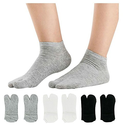 Women's Solid 2 Toe Flip Flop Tabi Socks Geta Ankle Cotton 6 Pairs