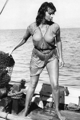sophia loren boy on a dolphin wet t shirt dress leggy barefoot icon
