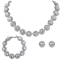 EVER FAITH Wedding Round Pave CZ Star Inspired Jewelry Set from EVER FAITH