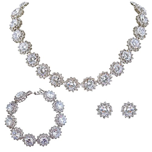 Swarovski Necklace Pave (EVER FAITH Wedding Round Pave CZ Star Inspired Jewelry Set - Necklace Earrings Bracelet)