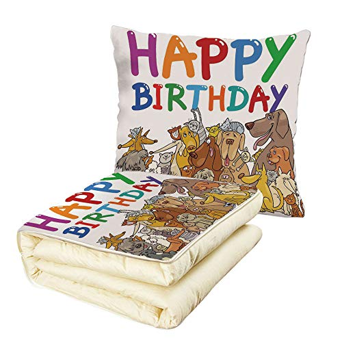 Quilt Dual-Use Pillow Birthday Decorations for Kids Cartoon Streets Dogs Cats Animals Party Themed Quote Print Multifunctional Air-Conditioning Quilt ()