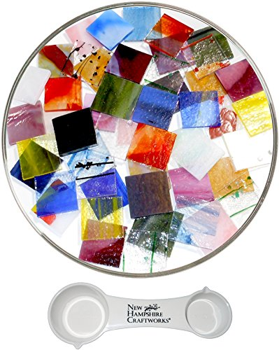 Bullseye Glass Specialty Pre-Cut 1-Inch Square Mix and NHC Frit Spoon Set, 90 COE, 10 pack