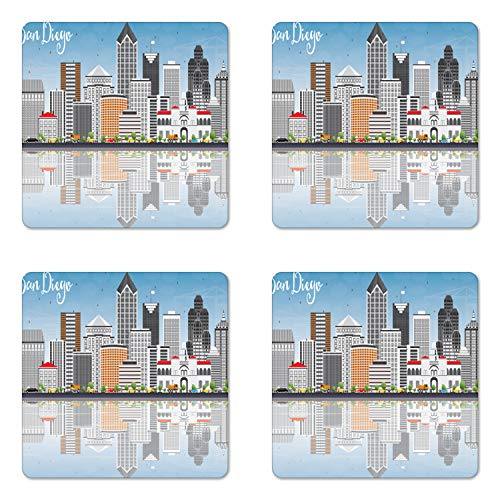 Ambesonne San Diego Coaster Set of 4, San Diego Skyline with Grey Buildings Blue Sky and Reflections Downtown Panorama, Square Hardboard Gloss Coasters for Drinks, Standard Size, Grey Blue (Downtown Garden Furniture)