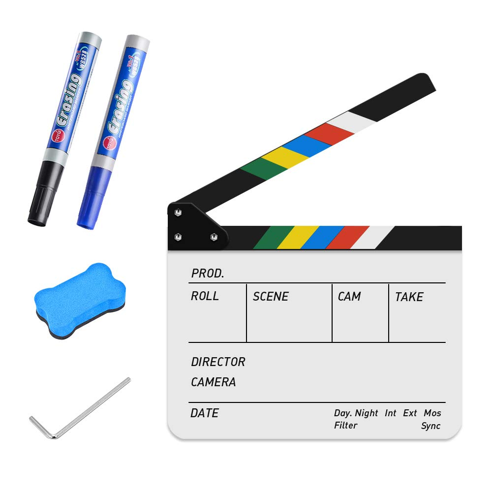 Acrylic Film Clapboard Dry Erase Director 25x30cm/10x12'' Movie Film Clapper Coating Board Slate with Color Sticks