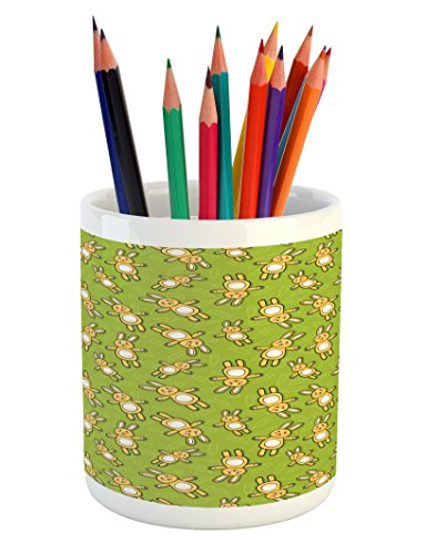 (Ambesonne Anime Pencil Pen Holder, Kids Toy Rabbits Pattern on a Green Background with Doodle Carrots, Printed Ceramic Pencil Pen Holder for Desk Office Accessory, Apple Green Yellow and White)