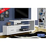 Tv Console Table with Storage Shelf 47'' Entertainment Center Multimedia Organizer Furniture TV Cabinet Sleek Contemporary Ample Storage White Glossy Finish eBook by BADA shop