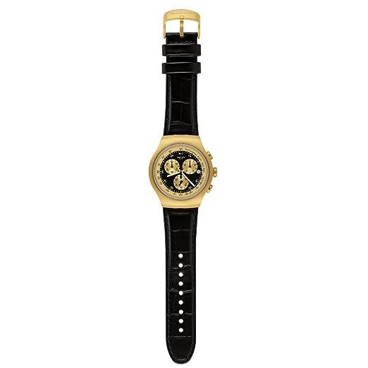 Swatch YOG403 - Reloj analógico de Cuarzo para Hombre, Correa de Cuero Color Negro: Swatch: Amazon.es: Relojes