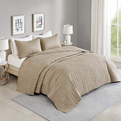 Comfort Spaces Kienna 3 Piece Quilt Coverlet Bedspread All Season Lightweight Filling Stitched Bedding Set, Oversized Queen, Taupe (Beige Bedding Sets Brown And)