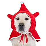 FOMATE Dog & Cat costumes for Christmas and Holidays. Red cloak for Pets costume. Christmas mantle, Santa's helper clothes (L)