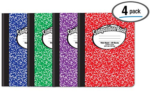 Composition Book Notebook - Hardcover, Wide Ruled (11/32-inch), 100 Sheet, One Subject, 9.75