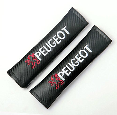 2pcs PEUGEOT Carbon Fiber Car Styling Accessories Seat Belt Shoulders Pad Truck Cover 206 207 307 301 308 408 508 3008