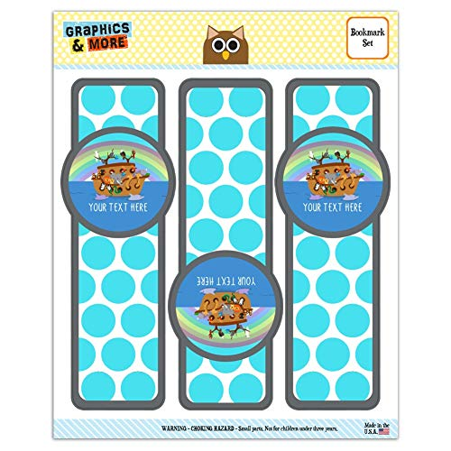- Personalized Custom 1 Line Noah's Ark with Rainbow Set of 3 Glossy Laminated Bookmarks