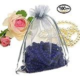 Wuligirl 100 PCS Gray Organza Gift Bags with