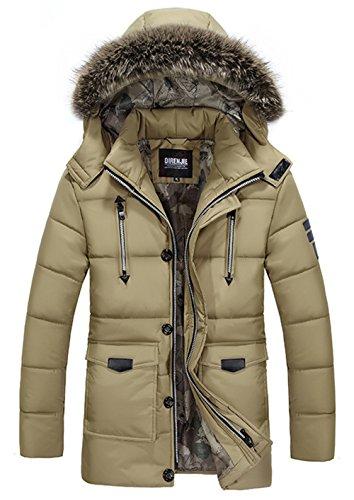 Coat Mens Yyzyy Jacket Chaud Capuche Kaki Veste Homme Fourrure Avec Hiver Parka Amovible Manteaux Winter Épais Hooded qFwpBP6qx