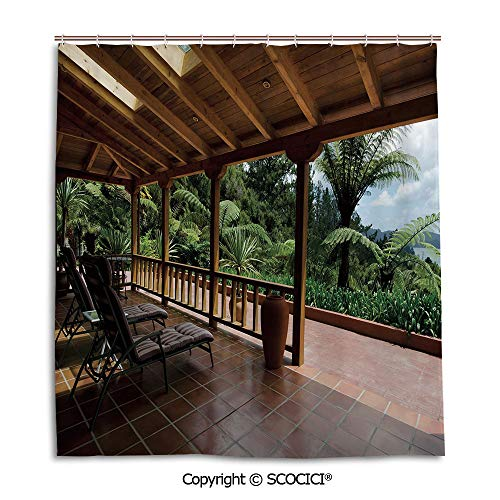 h Curtain Personality Suit Shade Curtain,66X72in,Patio Decor,Sub Tropical Wooden Terrace Near Bushes and Grass Villa Yard Lifestyle,Light Coffee Green,Used for Bathing Privacy ()