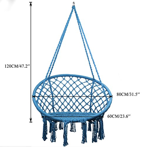 TOPWAY Hammock Chair Macrame Swing, 330 Pound Capacity, Hanging Chair with Cotton Rope for Indoor, Outdoor, Home, Patio, Deck, Yard, Garden, Blue