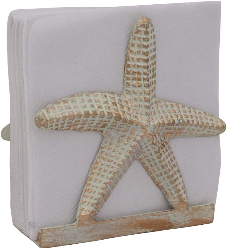 Nautical Napkin Holder Lunch/Dinner/Metal Napkin Holder/Napkin Holder For Kitchen/Beverage Cocktail Napkin Holder/Ocean/Coastal Napkin Holder By The Metal Magician (Starfish Sea White)