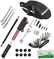 CHUMXINY Bike Repair Kit, Bike Tire Repair Tool Kit Contains 16-in-1 Tool, 120Psi Mini Bicycle Pump, Bicycle T