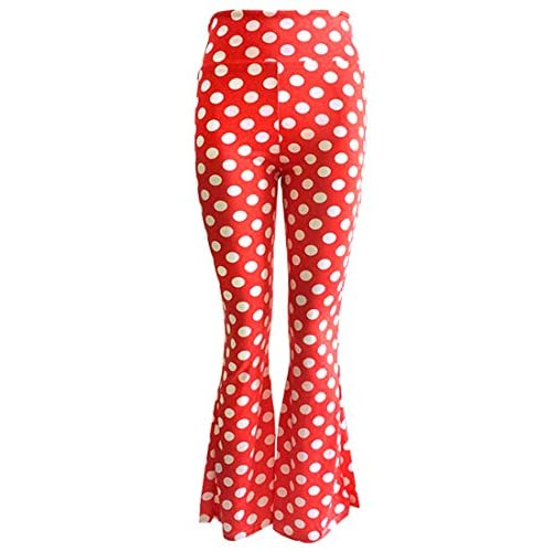 09ccb962174 delicate KXP Womens High Waist Foldover Dot Long Bell Bottom Palazzo Pant