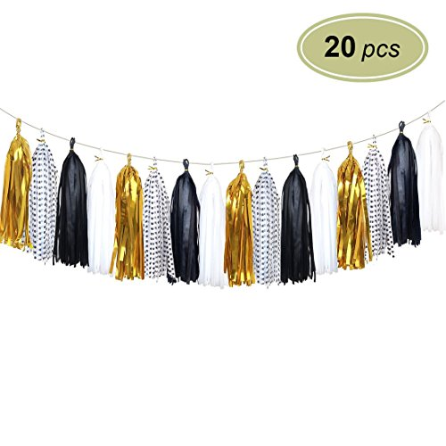 Birthday Polka Dots Party Decorations - 20 pcs Shiny Tissue Paper Tassels - Paper Tassels Garland Banner for Wedding, Baby Shower, Birthday Party Wall Decoration (Polka Dots, Black, White, Metallic Gold)
